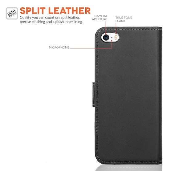 Caseflex iPhone SE Real Leather Wallet Case - Black
