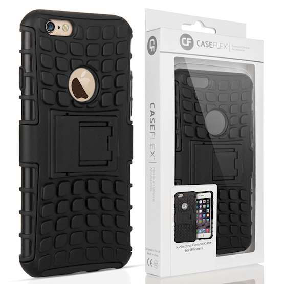 Caseflex iPhone 6 and 6s Kickstand Combo Case - Black (Retail Box)