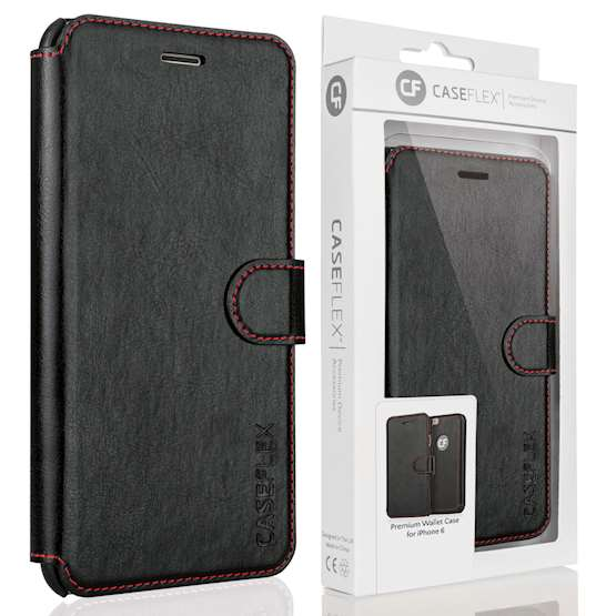 Caseflex iPhone 6 and 6s Leather-Effect Wallet Case - Black with Red Stitching