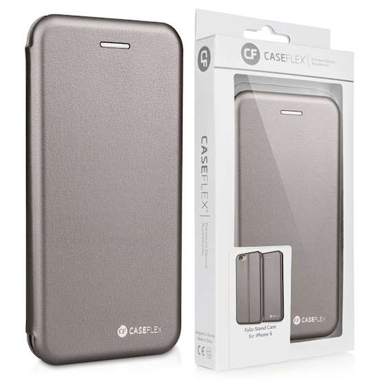 Caseflex iPhone 6 and 6s Leather-Effect Embossed Stand Wallet - Grey