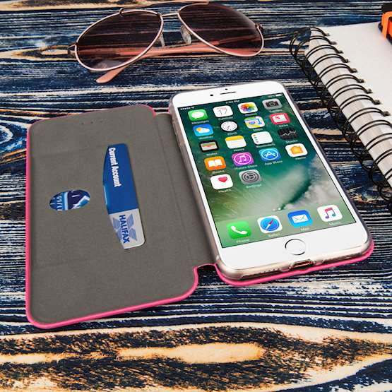 Caseflex iPhone 7 Plus Leather-Effect Embossed Stand Wallet - Pink
