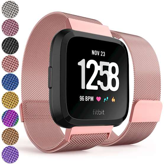 Replacement Strap for Fitbit Versa - Metal Milanese Band for Fitbit Versa (Rose Pink)