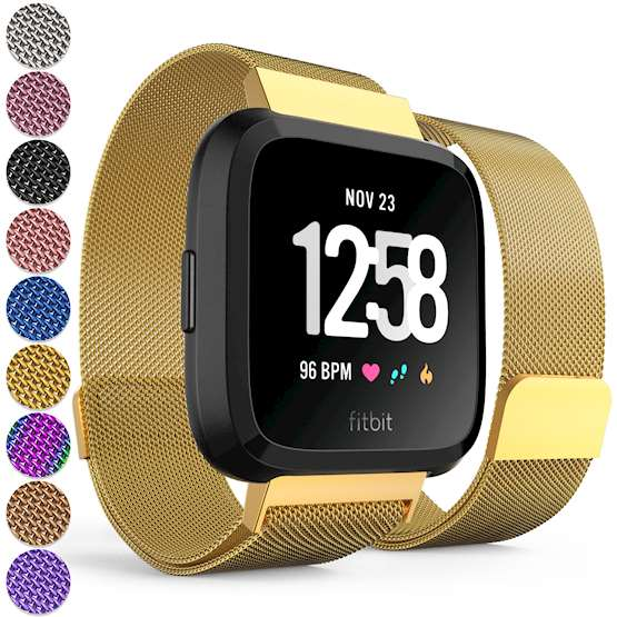 Replacement Strap for Fitbit Versa - Metal Milanese Band for Fitbit Versa (Gold)