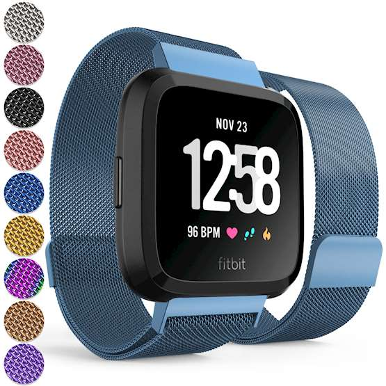 Replacement Strap for Fitbit Versa - Metal Milanese Band for Fitbit Versa - Blue