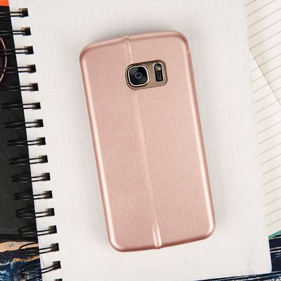 Caseflex Samsung Galaxy S7 Leather-Effect Stand Wallet with Felt Lining - Gold