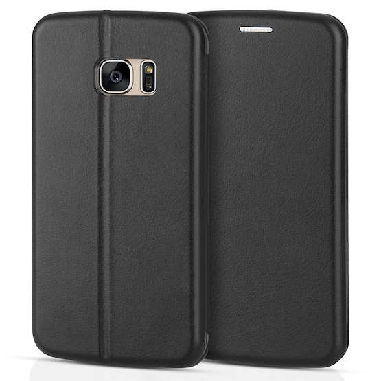 Caseflex Samsung Galaxy S7 Leather-Effect Stand Wallet with Felt Lining - Black