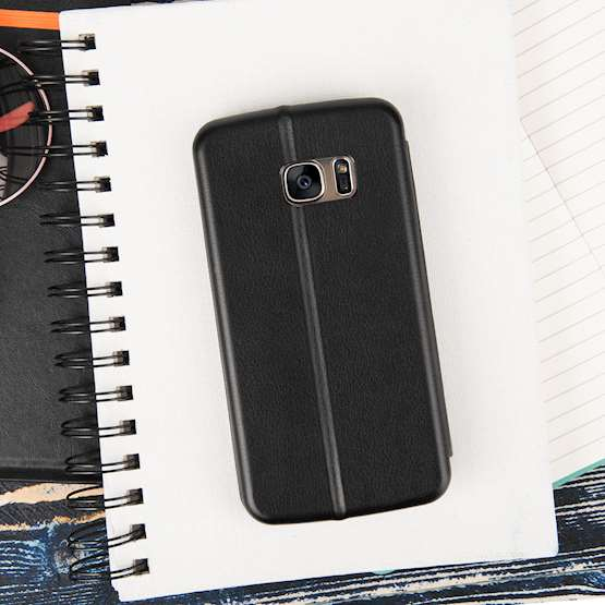 Caseflex Samsung Galaxy S7 Leather-Effect Embossed Stand Wallet with Felt Lining - Black