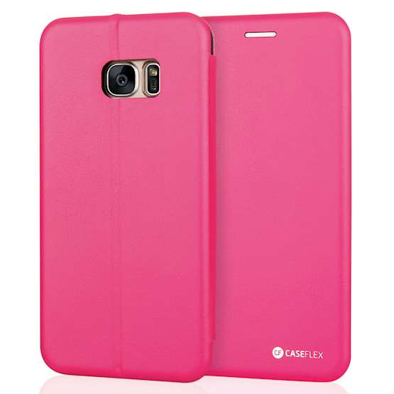 Caseflex Samsung Galaxy S7 Edge Leather-Effect Embossed Stand Wallet with Felt Lining - Pink (Retail Box)