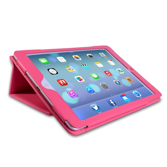 Caseflex iPad Air Textured Faux Leather Stand Case - Hot Pink
