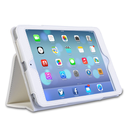 Caseflex iPad Mini 2 Textured Faux Leather Stand Case - White