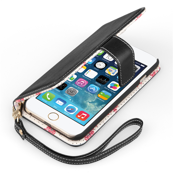 Caseflex iPhone 6 and 6s Leather-Effect Wallet Case – Black with Floral Lining