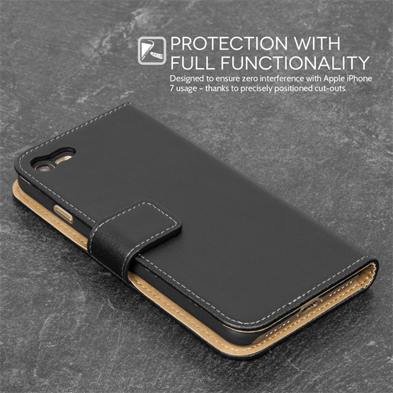 Caseflex iPhone 7 Real Leather Wallet Case - Black