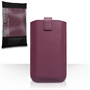 Caseflex Leather-Effect Auto Return Pull Tab Pouch (L) - Purple