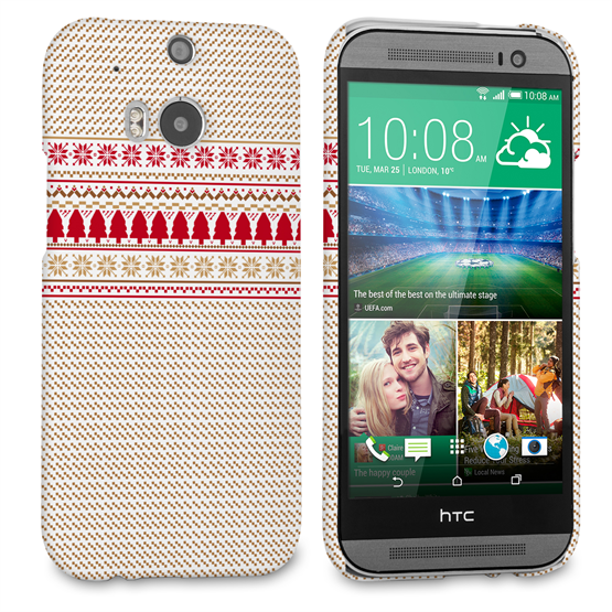 Caseflex HTC One M8 Christmas Knitted Snowflake Jumper Hard Case - Brown / Red / White