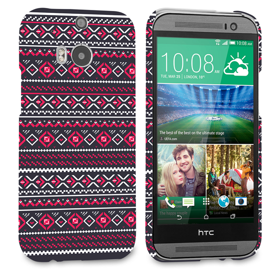 Caseflex HTC One M8 Fairisle Case – Grey with Red Background
