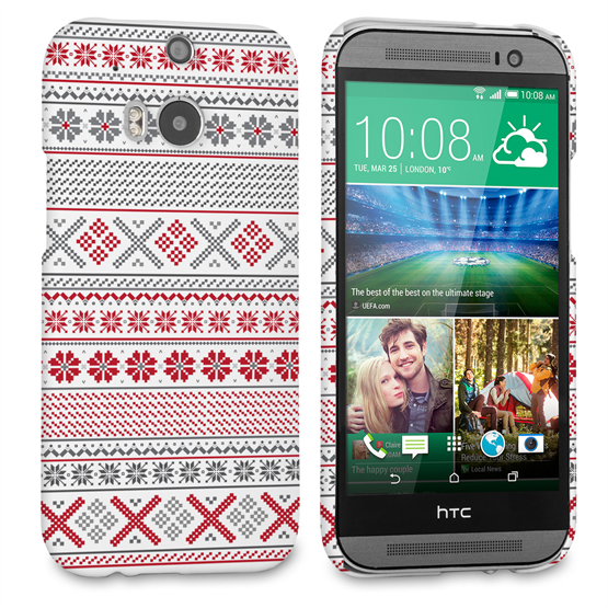 Caseflex HTC One M8 Fairisle Case – Red, White and Grey