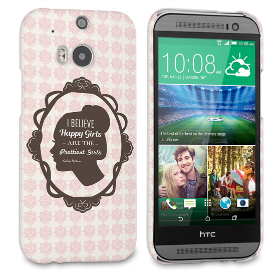 Caseflex HTC One M8 Audrey Hepburn 'Happy Girls' Quote Case