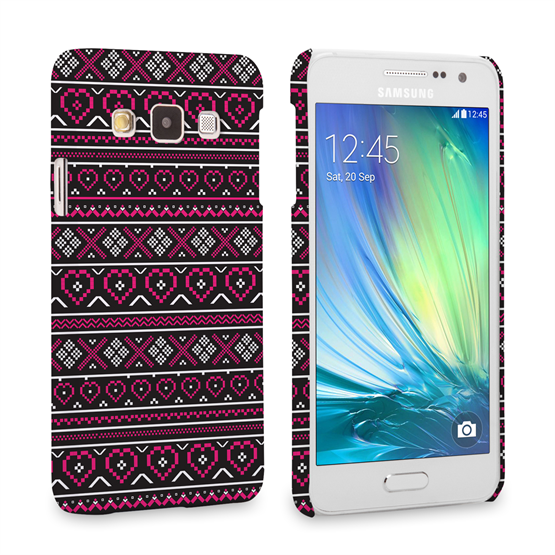 Caseflex Samsung Galaxy A3 Fairisle Case – Pink and Black