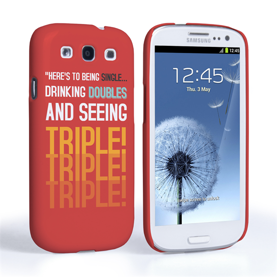 Caseflex Samsung Galaxy S3 Single, Double, Triple Quote Hard Case Red