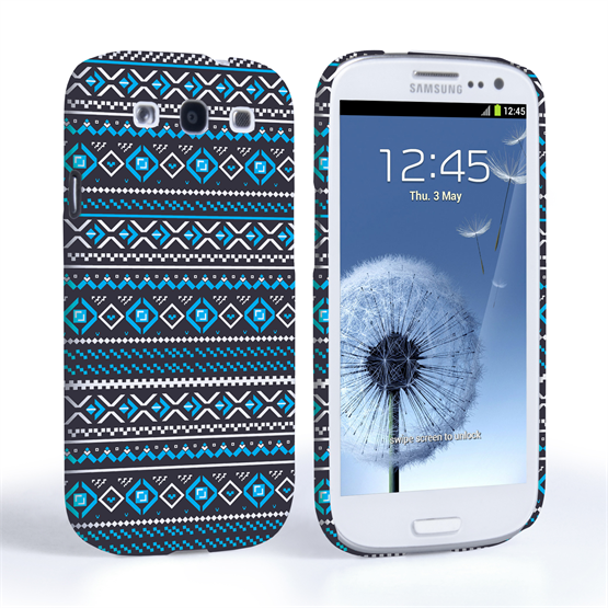 Caseflex Samsung Galaxy S3 Fairisle Case – Grey with Blue Background