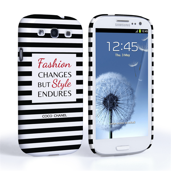 Caseflex Samsung Galaxy S3 Chanel 'Fashion Changes' Quote Case – Black and White
