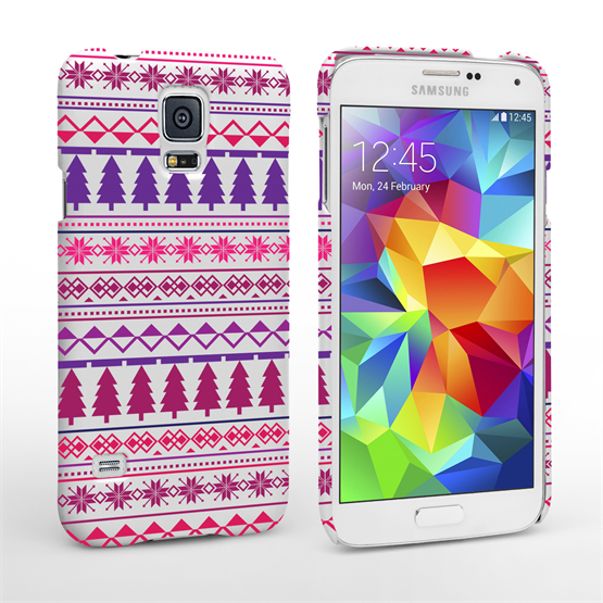 Caseflex Samsung Galaxy S5 Christmas Tree Hard Case - Pink / Purple