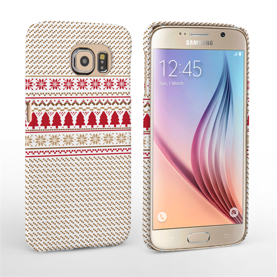 Caseflex Samsung Galaxy S6 Christmas Knitted Snowflake Jumper Hard Case - Brown / Red / White