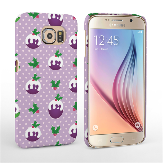 Caseflex Samsung Galaxy S6 Christmas Pudding Hard Case - Purple
