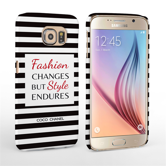Caseflex Samsung Galaxy S6 Chanel 'Fashion Changes' Quote Case – Black and White