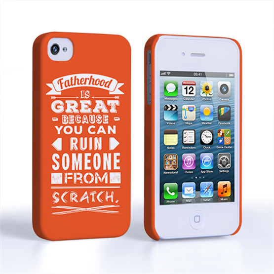 Caseflex Fatherhood Funny Quote iPhone 4 / 4S Case – Orange