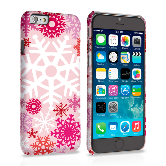 Caseflex iPhone 6 and 6s Winter Christmas Snowflake Hard Case - Red / Pink