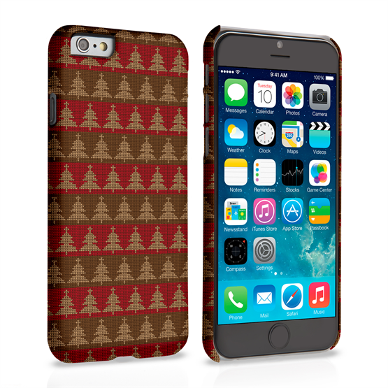 Caseflex iPhone 6 and 6s Christmas Tree Knit Jumper Hard Case - Brown / Red