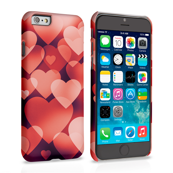 Caseflex iPhone 6 and 6s Shimmering Hearts Case - Red