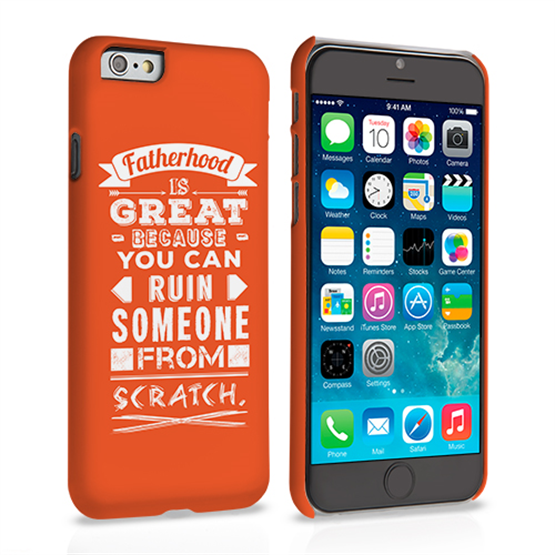 Caseflex Fatherhood Funny Quote iPhone 6 and 6s Case – Orange