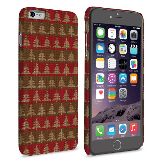 Caseflex iPhone 6 Plus and 6s Plus Christmas Tree Knit Jumper Hard Case - Brown / Red