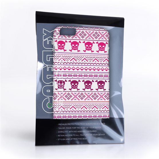 Caseflex iPhone 6 and 6s Plus Fairisle Case – Pink Skull White Background