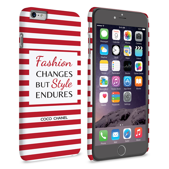 Caseflex iPhone 6 Plus and 6s Plus Chanel 'Fashion Changes' Quote Case – Red and White