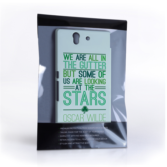Caseflex Sony Xperia Z Wilde Stars Quote Hard Case – White and Green