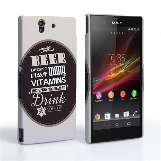 Caseflex Sony Xperia Z Beer Label Quote Hard Case – Brown