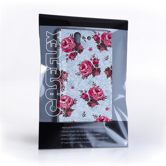 Caseflex Sony Xperia Z Vintage Roses Wallpaper Hard Case – Light Blue
