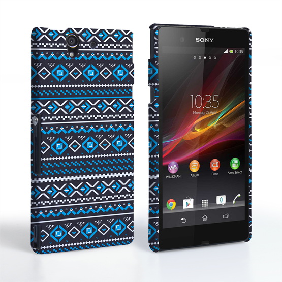 Caseflex Sony Xperia Z Fairisle Case – Grey with Blue Background