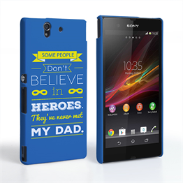 Caseflex Dad Heroes Quote Sony Xperia Z Case - Blue