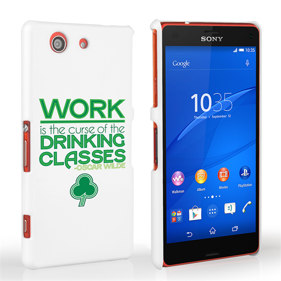 Caseflex Sony Xperia Z3 Compact Wilde Drinking Classes Quote Hard Case – White and Green
