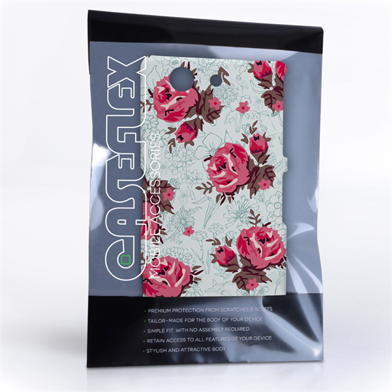 Caseflex Sony Xperia Z3 Compact Vintage Roses Wallpaper Hard Case – Light Blue