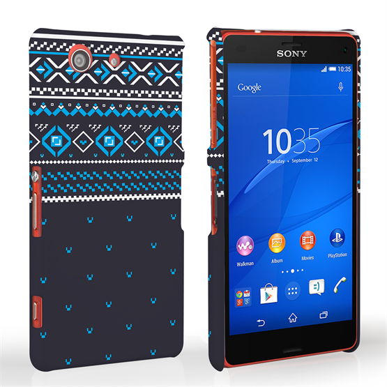 Caseflex Sony Xperia Z3 Compact Fairisle Case – Grey and Blue Half Pattern