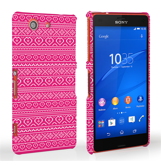 Caseflex Sony Xperia Z3 Compact Fairisle Case – Pink and White