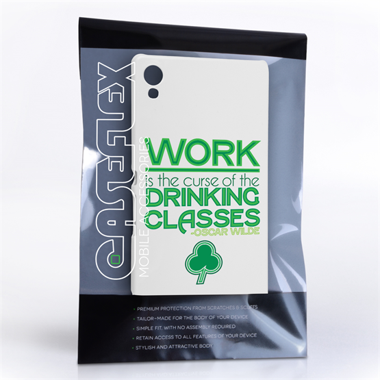 Caseflex Sony Xperia Z3+ Wilde Drinking Classes Quote Hard Case – White and Green