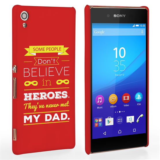 Caseflex Dad Heroes Quote Sony Xperia Z3+ Case - Red