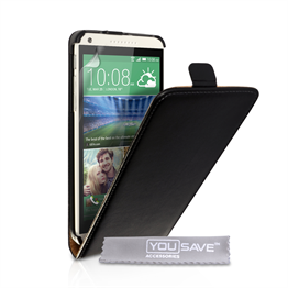 Caseflex HTC Desire 816 Real Leather Flip Case - Black