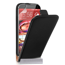 Caseflex HTC M9 Real Leather Flip Case - Black